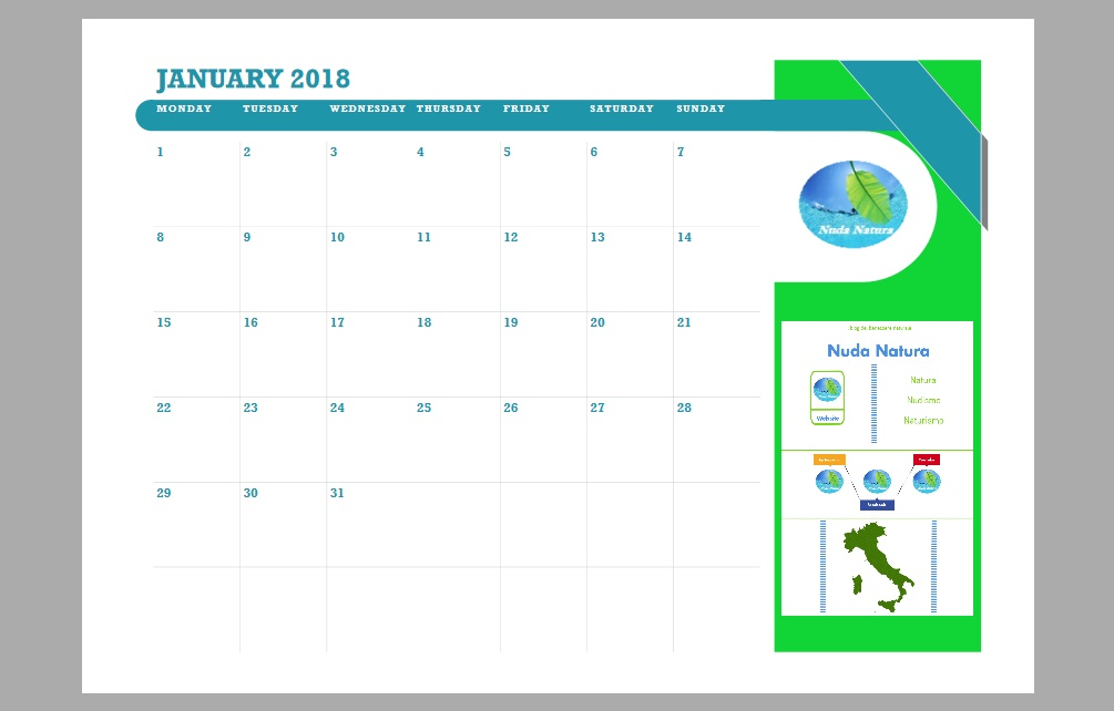 Calendario Nuda Natura 2018
